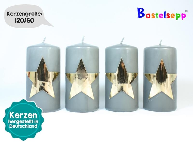 weihnachtskerzen im 4er set graue kerzen mit sternen in hochglanzgold motiv taufkerze. Black Bedroom Furniture Sets. Home Design Ideas