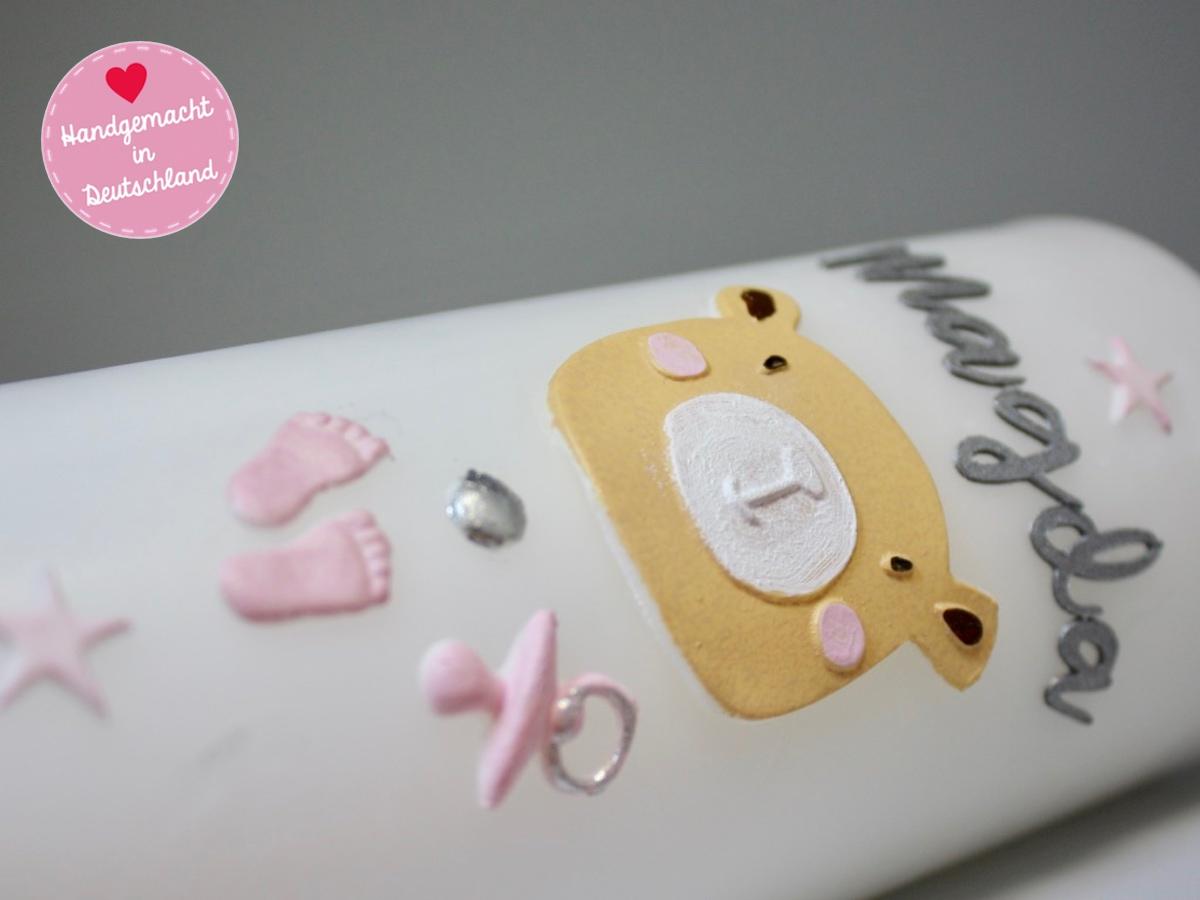 bastelset | nr.210 | taufkerze selber machen | rosa teddybär